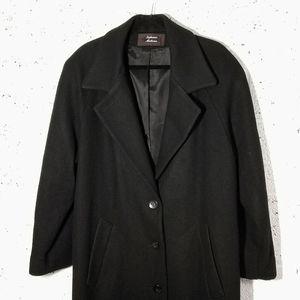Stephanie Mathews Vtg Sz 14 Black Wool Long Coat